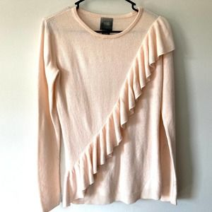 mag by magaschoni pink crew neck sweater with ruffle